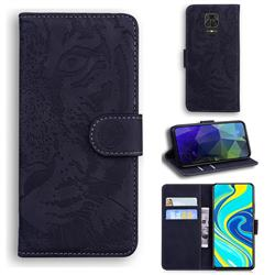 Intricate Embossing Tiger Face Leather Wallet Case for Xiaomi Redmi Note 9s / Note9 Pro / Note 9 Pro Max - Black