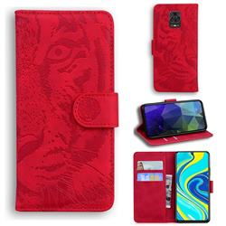 Intricate Embossing Tiger Face Leather Wallet Case for Xiaomi Redmi Note 9s / Note9 Pro / Note 9 Pro Max - Red