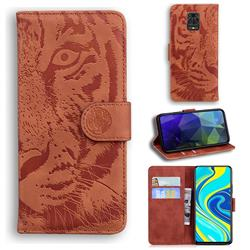 Intricate Embossing Tiger Face Leather Wallet Case for Xiaomi Redmi Note 9s / Note9 Pro / Note 9 Pro Max - Brown