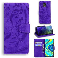 Intricate Embossing Tiger Face Leather Wallet Case for Xiaomi Redmi Note 9s / Note9 Pro / Note 9 Pro Max - Purple