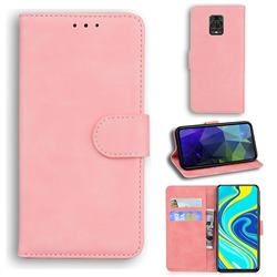 Retro Classic Skin Feel Leather Wallet Phone Case for Xiaomi Redmi Note 9s / Note9 Pro / Note 9 Pro Max - Pink
