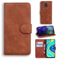 Retro Classic Skin Feel Leather Wallet Phone Case for Xiaomi Redmi Note 9s / Note9 Pro / Note 9 Pro Max - Brown