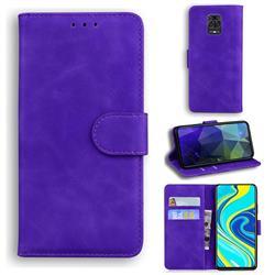 Retro Classic Skin Feel Leather Wallet Phone Case for Xiaomi Redmi Note 9s / Note9 Pro / Note 9 Pro Max - Purple