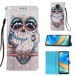Sweet Gray Owl 3D Painted Leather Wallet Case for Xiaomi Redmi Note 9s / Note9 Pro / Note 9 Pro Max