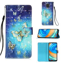 Gold Butterfly 3D Painted Leather Wallet Case for Xiaomi Redmi Note 9s / Note9 Pro / Note 9 Pro Max