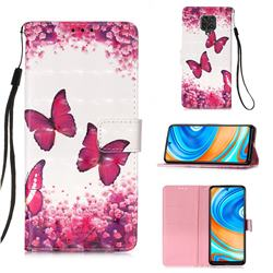 Rose Butterfly 3D Painted Leather Wallet Case for Xiaomi Redmi Note 9s / Note9 Pro / Note 9 Pro Max