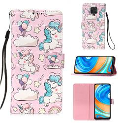 Angel Pony 3D Painted Leather Wallet Case for Xiaomi Redmi Note 9s / Note9 Pro / Note 9 Pro Max