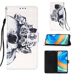 Skull Flower 3D Painted Leather Wallet Case for Xiaomi Redmi Note 9s / Note9 Pro / Note 9 Pro Max