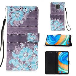 Blue Flower 3D Painted Leather Wallet Case for Xiaomi Redmi Note 9s / Note9 Pro / Note 9 Pro Max