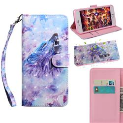 Roaring Wolf 3D Painted Leather Wallet Case for Xiaomi Redmi Note 9s / Note9 Pro / Note 9 Pro Max