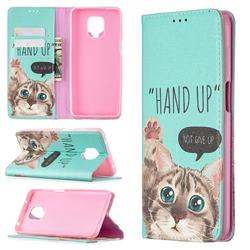 Hand Up Cat Slim Magnetic Attraction Wallet Flip Cover for Xiaomi Redmi Note 9s / Note9 Pro / Note 9 Pro Max