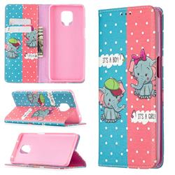 Elephant Boy and Girl Slim Magnetic Attraction Wallet Flip Cover for Xiaomi Redmi Note 9s / Note9 Pro / Note 9 Pro Max