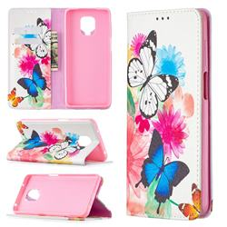 Flying Butterflies Slim Magnetic Attraction Wallet Flip Cover for Xiaomi Redmi Note 9s / Note9 Pro / Note 9 Pro Max