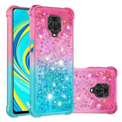 Rainbow Gradient Liquid Glitter Quicksand Sequins Phone Case for Xiaomi Redmi Note 9s / Note9 Pro / Note 9 Pro Max - Pink Blue