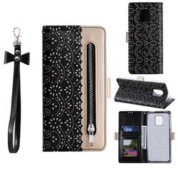 Luxury Lace Zipper Stitching Leather Phone Wallet Case for Xiaomi Redmi Note 9s / Note9 Pro / Note 9 Pro Max - Black