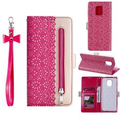 Luxury Lace Zipper Stitching Leather Phone Wallet Case for Xiaomi Redmi Note 9s / Note9 Pro / Note 9 Pro Max - Rose