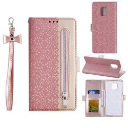 Luxury Lace Zipper Stitching Leather Phone Wallet Case for Xiaomi Redmi Note 9s / Note9 Pro / Note 9 Pro Max - Pink