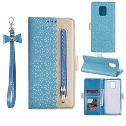 Luxury Lace Zipper Stitching Leather Phone Wallet Case for Xiaomi Redmi Note 9s / Note9 Pro / Note 9 Pro Max - Blue