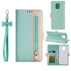 Luxury Lace Zipper Stitching Leather Phone Wallet Case for Xiaomi Redmi Note 9s / Note9 Pro / Note 9 Pro Max - Green