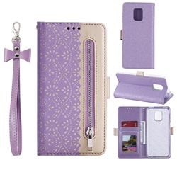 Luxury Lace Zipper Stitching Leather Phone Wallet Case for Xiaomi Redmi Note 9s / Note9 Pro / Note 9 Pro Max - Purple