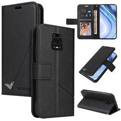 GQ.UTROBE Right Angle Silver Pendant Leather Wallet Phone Case for Xiaomi Redmi Note 9s / Note9 Pro / Note 9 Pro Max - Black