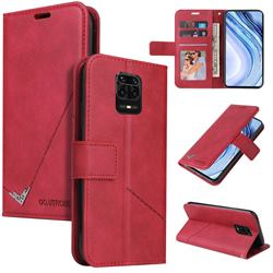 GQ.UTROBE Right Angle Silver Pendant Leather Wallet Phone Case for Xiaomi Redmi Note 9s / Note9 Pro / Note 9 Pro Max - Red