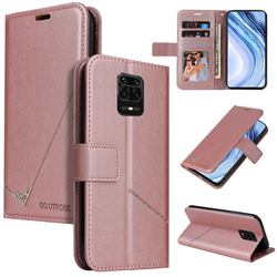 GQ.UTROBE Right Angle Silver Pendant Leather Wallet Phone Case for Xiaomi Redmi Note 9s / Note9 Pro / Note 9 Pro Max - Rose Gold