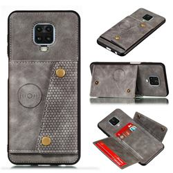 Retro Multifunction Card Slots Stand Leather Coated Phone Back Cover for Xiaomi Redmi Note 9s / Note9 Pro / Note 9 Pro Max - Gray