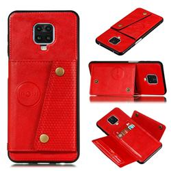 Retro Multifunction Card Slots Stand Leather Coated Phone Back Cover for Xiaomi Redmi Note 9s / Note9 Pro / Note 9 Pro Max - Red