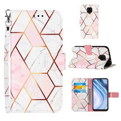 Pink White Stitching Color Marble Leather Wallet Case for Xiaomi Redmi Note 9s / Note9 Pro / Note 9 Pro Max
