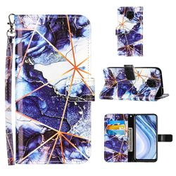 Starry Blue Stitching Color Marble Leather Wallet Case for Xiaomi Redmi Note 9s / Note9 Pro / Note 9 Pro Max