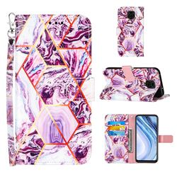Dream Purple Stitching Color Marble Leather Wallet Case for Xiaomi Redmi Note 9s / Note9 Pro / Note 9 Pro Max