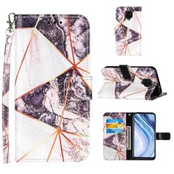 Black and White Stitching Color Marble Leather Wallet Case for Xiaomi Redmi Note 9s / Note9 Pro / Note 9 Pro Max