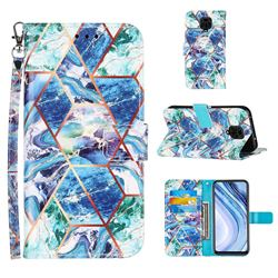 Green and Blue Stitching Color Marble Leather Wallet Case for Xiaomi Redmi Note 9s / Note9 Pro / Note 9 Pro Max