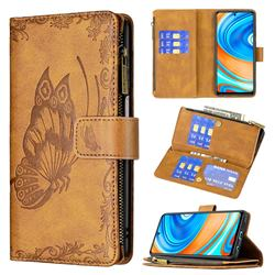 Binfen Color Imprint Vivid Butterfly Buckle Zipper Multi-function Leather Phone Wallet for Xiaomi Redmi Note 9s / Note9 Pro / Note 9 Pro Max - Brown