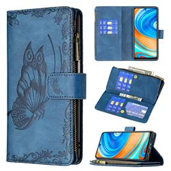 Binfen Color Imprint Vivid Butterfly Buckle Zipper Multi-function Leather Phone Wallet for Xiaomi Redmi Note 9s / Note9 Pro / Note 9 Pro Max - Blue