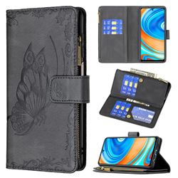 Binfen Color Imprint Vivid Butterfly Buckle Zipper Multi-function Leather Phone Wallet for Xiaomi Redmi Note 9s / Note9 Pro / Note 9 Pro Max - Black