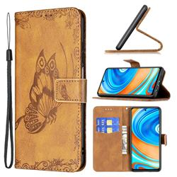 Binfen Color Imprint Vivid Butterfly Leather Wallet Case for Xiaomi Redmi Note 9s / Note9 Pro / Note 9 Pro Max - Brown