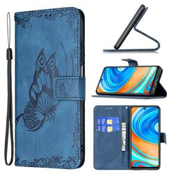 Binfen Color Imprint Vivid Butterfly Leather Wallet Case for Xiaomi Redmi Note 9s / Note9 Pro / Note 9 Pro Max - Blue