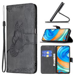 Binfen Color Imprint Vivid Butterfly Leather Wallet Case for Xiaomi Redmi Note 9s / Note9 Pro / Note 9 Pro Max - Black