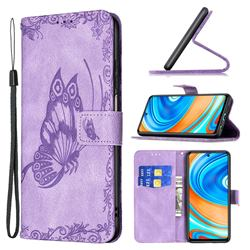 Binfen Color Imprint Vivid Butterfly Leather Wallet Case for Xiaomi Redmi Note 9s / Note9 Pro / Note 9 Pro Max - Purple