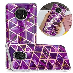Purple Rhombus Galvanized Rose Gold Marble Phone Back Cover for Xiaomi Redmi Note 9T