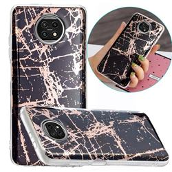 Black Galvanized Rose Gold Marble Phone Back Cover for Xiaomi Redmi Note 9T