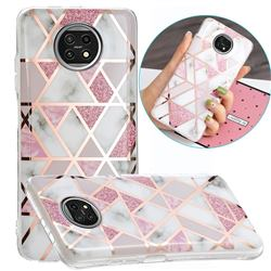 Pink Rhombus Galvanized Rose Gold Marble Phone Back Cover for Xiaomi Redmi Note 9T