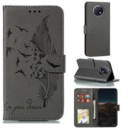 Intricate Embossing Lychee Feather Bird Leather Wallet Case for Xiaomi Redmi Note 9T - Gray