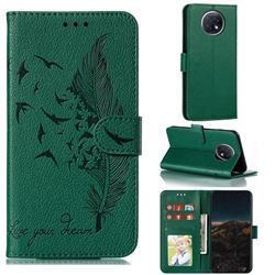 Intricate Embossing Lychee Feather Bird Leather Wallet Case for Xiaomi Redmi Note 9T - Green