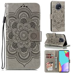 Intricate Embossing Datura Solar Leather Wallet Case for Xiaomi Redmi Note 9T - Gray