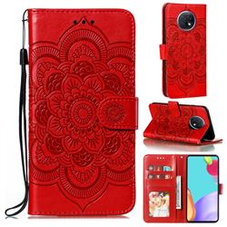 Intricate Embossing Datura Solar Leather Wallet Case for Xiaomi Redmi Note 9T - Red