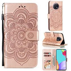 Intricate Embossing Datura Solar Leather Wallet Case for Xiaomi Redmi Note 9T - Rose Gold