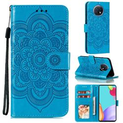 Intricate Embossing Datura Solar Leather Wallet Case for Xiaomi Redmi Note 9T - Blue